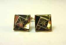 SQUARE DIAMOND CHIP GOLD PLATED PIONEER CUFF LINKS *