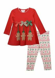 Bonnie Jean Gingerbread Ornament Holiday Dress and Candy Cane Leggings Sz 6
