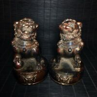 """4"""" A pair Chinese old antique bronze Lion beast Fengshui ornaments statue"""