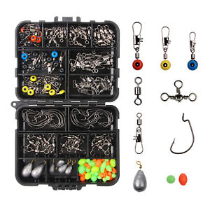 160Pcs Fishing Tackle Accessories Kit Swivels Snaps Hooks Sinker Weights Beads