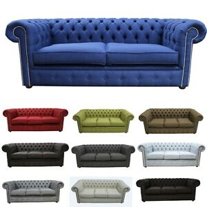 **BRAND NEW** Chesterfield 3 seater Linen Fabric Sofa Suite Cheap