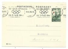 FINLAND YR.1939. OLYMPIC CANCEL POSTCARD 1940.USED