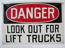 Old DANGER LOOK OUT FOR LIFT TRUCKS Industrial Safety Sign metal 14x20