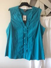 EZIBUY ESSENTIALS Torquise Blue Sleeveless Stretch Shirt Top Blouse BNWT 16 PC