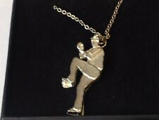 """Baseball Pitcher GT10 Pewter On 16"""" Silver Plated Curb Necklace"""