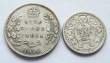Rupia India mitad plata, fecha 1910, plata trimestre rupia, fechada 1919