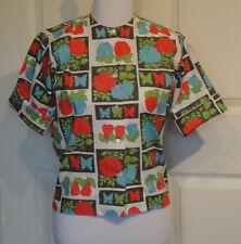 Vintage 60s Novelty Cotton Blouse Gabey 12 Butterflies Fruit Flowers B36