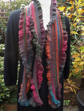 Long Frilly Crochet Scarf HANDMADE- Teal Blue Rust Fuchsia Pink Quality Wool Mix