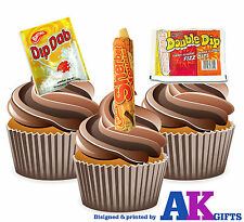 12 Retro Sweets Sherbet Dip Dap Mix Edible Wafer Cup Cake Toppers Birthday Party