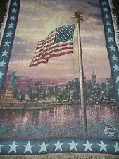 Kinkade.Light Of Freedom.New York Skyline.911 Tragedy.Us Flag.Woven Afghan Throw