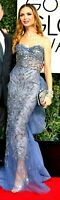 MARCHESA Tulle Embellished Beaded Blue Long Dress Evening Runway Gown US 6 8 10