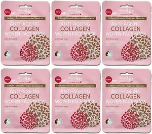Anti-Ageing Woven Face Mask with Aloe Vera Collagen Smoothness Pack x 6