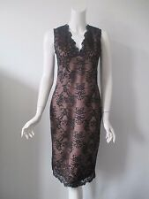 NEXT Black Lace Lay Over Crinkle Brown Mauve Low V Neckline Dress fits XS (2/4)