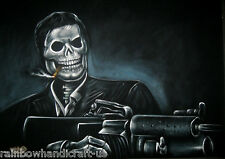 Tony Montana Skeleton Al Pacino Original Black Velvet Oil Painting Mexican Art