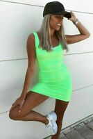New Ladies Womens Strap Square Neck Ribbed Neon Short Mini Party Bodycon Dress