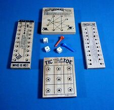 Bundle of  Wood Peg Game Boards Travel Size With Extra Pieces 4 Different Boards