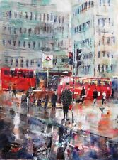 "ORIGINALE sieri CAVALIERE s.w.a ""attraversare la strada a Charing Cross"" London PITTURA"