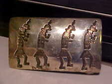 "Vintage 3"" Long Native American Navajo Signed "" B "" Sterling Silver Belt Buckle"