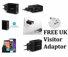Genuine Anker 2 Port USB Plug US UK EU 2 Pin Wall Travel iPhone Samsung Charger