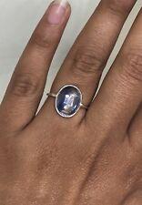 Stunning 925 Sterling Silver Ladies Genuine Kyanite Oval Gemstone Ring - Size L