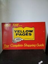 Vintage YELLOW PAGES DOUBLE SIDED METAL SIGN / Princess Dial Telephone