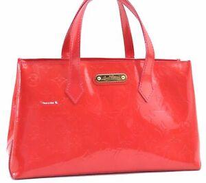 Authentic Louis Vuitton Vernis Wilshire PM Hand Bag Pink M93643 LV D4518