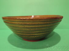 Vintage Harding Black Green/Brown Ribbed Bowl  Large