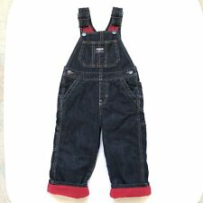OshKosh 2T Jean Fleece Lined Overalls, Blue And Red