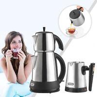 Mulex Tee und Mokka Set aus mattiertem Edelstahl Wasserkocher Mokkamaschine
