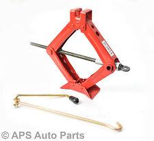 1 Ton Heavy Duty Scissor Jack Red Wheel Change Quick Lift Manual Car Van Tyre