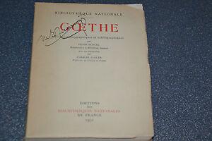 Goethe Notices iconographiques et bibliographiques Henri Moncel 1932 (J1)
