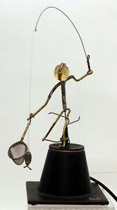 Gordon Bradt Kinetico Kinetic Metal Mechanical Art Fly Fisherman Sculpture