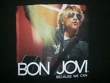BON JOVI CONCERT T SHIRT Jon Singlasses BECAUSE WE CAN TOUR 2-Sided Dates Cities