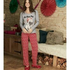 AVON Ladies Womens Xmas Christmas Festive Pug Print PJs Pyjamas Set Size 6 8