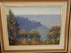 Blue Mountains, Australia by John Emmett signed & dated 1988 & original frame