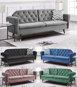 Sofa Bed 3 Seater Velvet Fabric Padded Suite Luxury Recliner Sofabed Click Clac