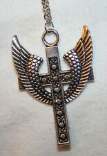 Lovely Metal Beaded Angel's Wings Silvertone Cross Pendant Necklace
