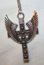 Lovely Metal Beaded Angel's Wings Silvertone Cross Pendant Necklace