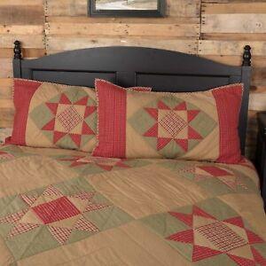 VHC Brands Primitive King Sham Tan Patchwork Dolly Star Cotton Bedroom Decor