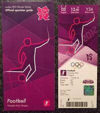 London 2012 TICKET FOOTBALL Hampden Park de Glasgow, 03 Août & Spectator Guide * Comme neuf *