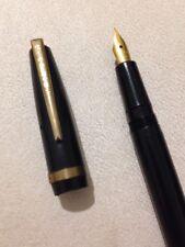 VINTAGE STEPHENS BLACK GT FOUNTAIN PEN-18CT GOLD PLATED NIB-SPARES/REPAIR.