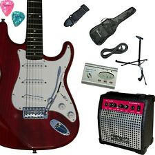 E-Gitarre inkl. Verstärker, Stimmgerät, Ständer, Tasche, Kabel, Gurt, Pleks, WR