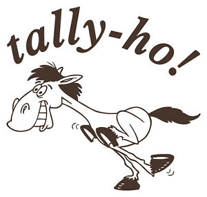 "Horse Sticker Horse with ""Tally-ho"" text for Car, Van, Horsebox Vinyl Graphic"