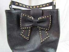 Betsey Johnson Medium Black Bow Bag PVC Shoulder Bag Studded Magnetic Closure