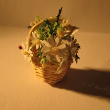 Daisies in a round basket ~ Doll house miniature ~1 twelfth