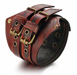 Mens Wide Large Gothic Leather Strap Bangle Cuff Bangle Bracelet Wristband 85MM