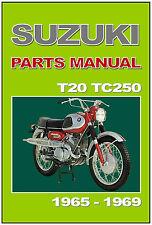 SUZUKI Parts Manual T20 X6 & TC250 1965 1966 1967 1968 & 1969 Spares Catalog