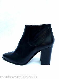 ZARA BLACK LEATHER POINTED ANKLE BOOTS SIZE UK8/EUR41/US10 NEW