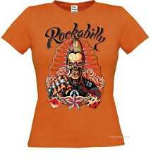 Frauen T Shirt in orange Greaser Tattoo Gothik&Oldschoolmotiv Modell Rockabilly