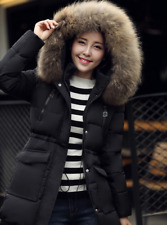 Winter Women's Black Down Cotton Fur Collar Hooded Coat Warm Jacket